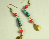 Turquoise, coral and brass long earrings.