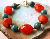 Carnelian and chrysocolla bracelet