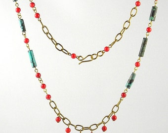 Long turquoise and coral necklace and earrings set