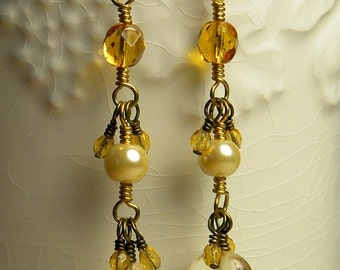 Citrine and czech glass earrings