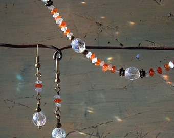 Aquamarine and carnelian necklace and earrings set