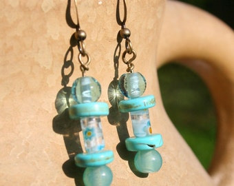 Miami Days 2, turquoise and millefiori glass summer earrings by Maxime B