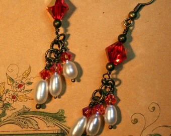 Red crystal and pearls earrings