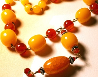 Mango and Caramel, yellow jade, carnelian, resin and fire agate necklace by Maxime B