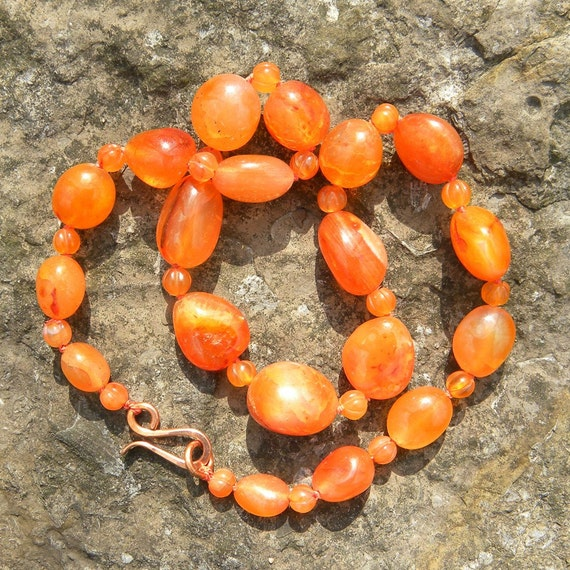 Natural carnelian knotted necklace