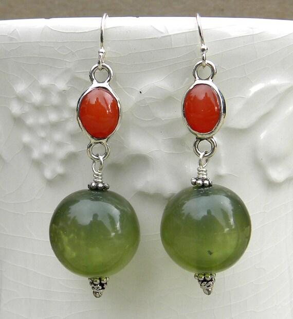 Carnelian and green gypsy earrings