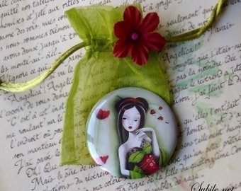 Pocket mirror Miss coquelicot