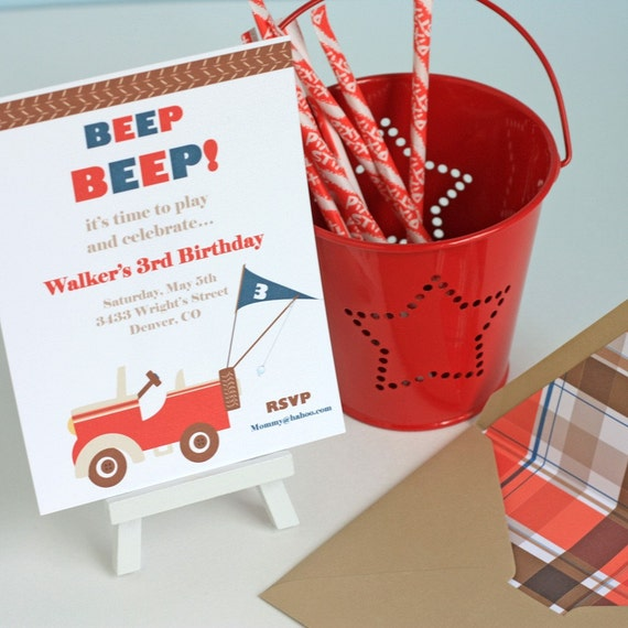 Jeep Truck Birthday Party Invitation Set For Boys set of 20 RESERVED