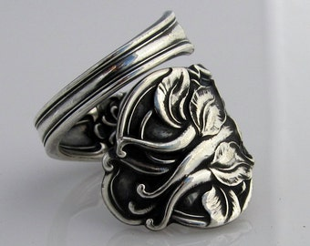 Sterling Silver Spoon Ring Columbine Size 5 to 10 Antique