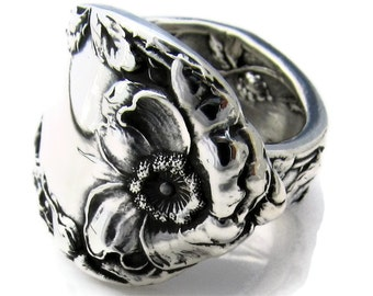 Wild Rose Sterling Spoon Ring Size 6-10 Les Cinq Fleurs Art Nouveau 1900