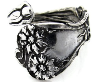 Spoon Ring Majestic Pattern Size 4-8 Sterling Silver 1900 Wrapped Adjustable Demitasse