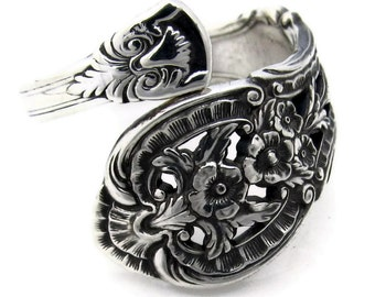 Primrose Sterling Silver Spoon Ring 1936 Wrapped Size 7 Adjustable
