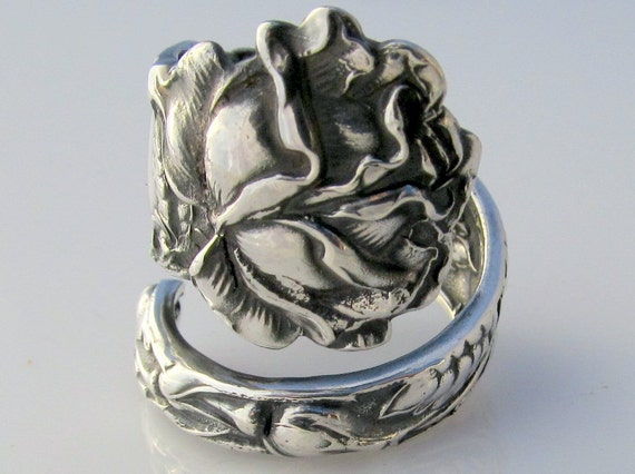 Sterling Silver Spoon Ring Size 6.5 Bridal Rose Alvin