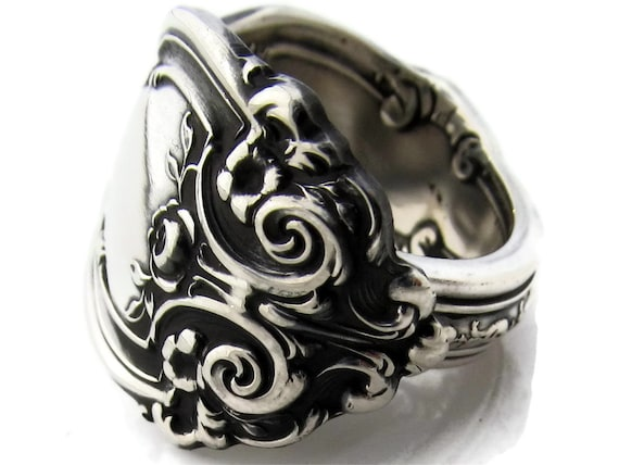 Large Sterling Silver Spoon Ring Sizes 6 to 16 La Reine Wallace