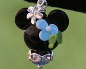 Blue Tropical Minnie Mouse Style Disney Inspired Lampwork Bead DeSIGNeR Purse Charm or Pendant Sterling