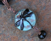 Gorgeous Tapestry Dragonfly Lampwork DeSIGNeR Hand Dyed Silk Necklace Kerribeads Glass Beads Romantic Victorian