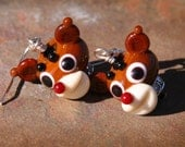 Rudolph the Red Nosed Reindeer SRA Lampwork N Sterling Silver DeSIGNeR EarRinGs Christmas Santa Gift