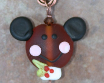 Gingerbread Mickey Mouse Style Man Boy Christmas Cookie SRA Lampwork DeSIGNeR Copper Necklace Sweet Frosting