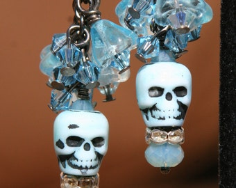 Day of the Dead Light Blue Skulls with Crystals and Flowers DeSIGNeR Earrings Rhinestones Halloween