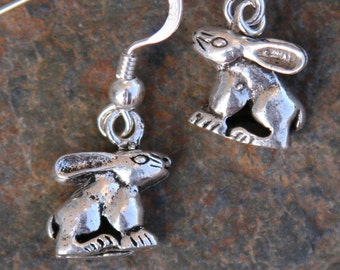 Solid Sterling Silver Easter Rabbits Bunnies DeSIGNeR Earrings So Fun and Spring Like