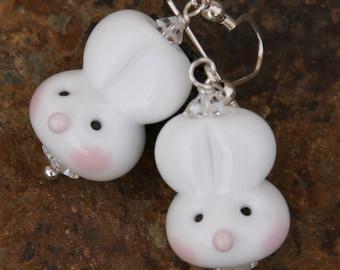 Easter Bunny Ears Peter Cottontail SRA DeSIGNeR Lampwork EarRiNGs Spring Rabbit White