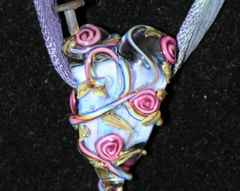 Nailed Through the Heart Valentine SRA Lampwork DeSIGNeR NecKlAcE Silk Glass Nail Broken Heart