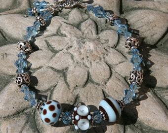 Robin Egg Blue and Chocolate Brown SRA Lampwork DeSIGNeR BrAceLEt Bali Sterling Silver Swarovski Crystals