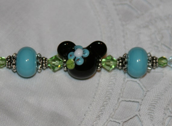 Handmade SRA Lampwork Minnie Mouse DeSIGNeR Bracelet Disney Inspired Magic Kingdom Blue Flowers Hawaiian Carribean