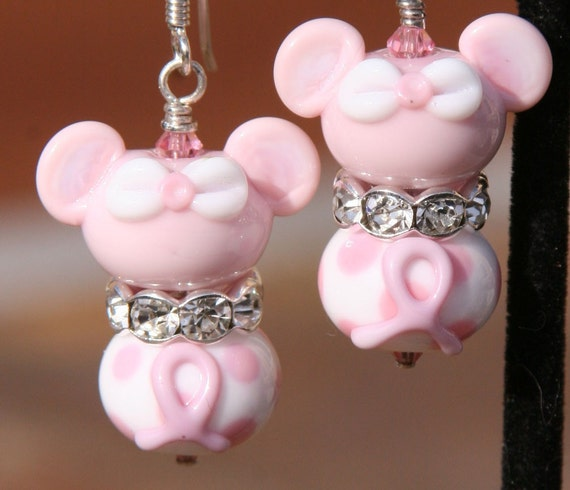 Think Pink Breast Cancer Awareness Disney Inspired Mickey Minnie Mouse SRA Lampwork DeSIGNeR Earrings
