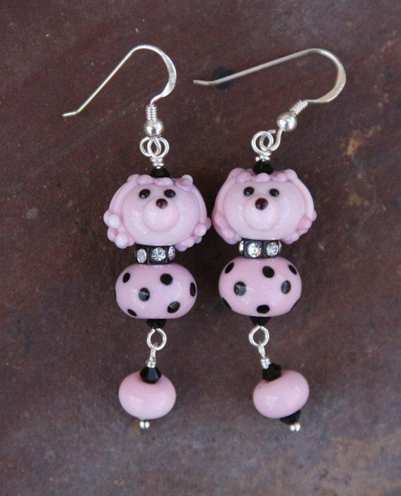 50s Pink n Black Polka Dot SRA Lampwork Poodle DeSIGNeR EaRrINgS Sterling Silver