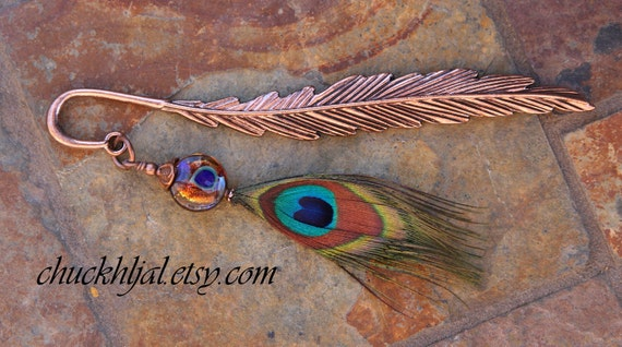 Copper Lampwork and Peacock Feather DeSIGNeR Bookmark Unique One of a Kind Gift Idea