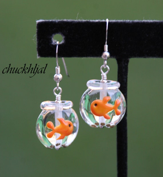 Glass Goldfish Bowl Lampwork N Crystals DeSIGNeR Earrings Sterling Silver So Fun and Unique