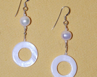 White Shell and Fresh Water Pearl Earrings