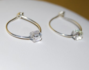 Silver Hoop Earrings with Crystal Cube Beads