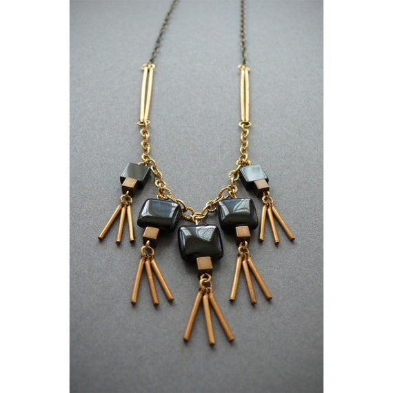 Handmade mixed metals square onyx fringe necklace with vintage brass