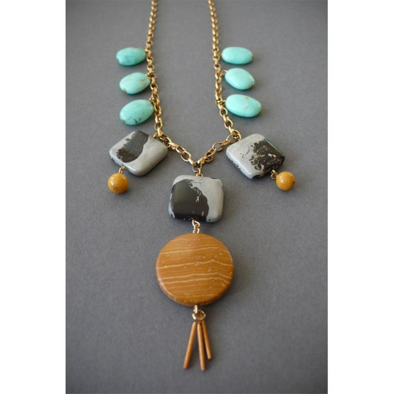 Handmade chunky contrasting stone necklace- jasper, chrysoprase, yellow jade and vintage brass fringe