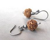 rudraksha and silver earrings