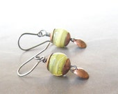 Reserved for Virginia - green chartruese lampwork, silver and copper earrings