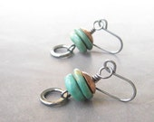 turquoise dangle earrings with copper and sterling silver
