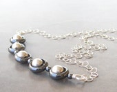 modern necklace hematite and sterling silver