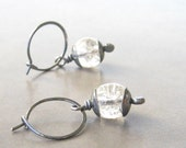 crackled glass and sterling silver hoop dangle earrings