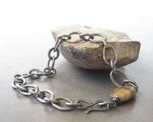 men's metalwork bracelet, fine silver torch fused links
