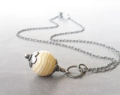 yellow pendant necklace with soapstone and sterling chain