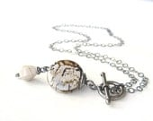 white stone pendant necklace with fire agate, jasper, toggle clasp and sterling chain