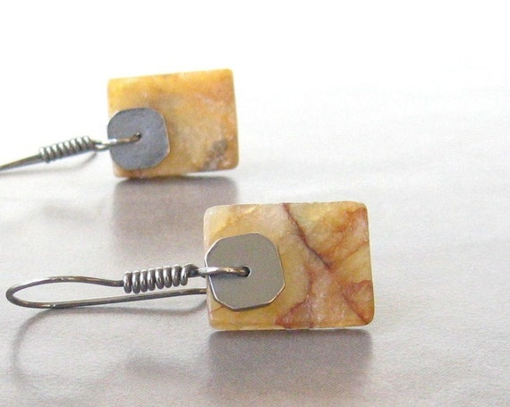 golden yellow jade slab earrings