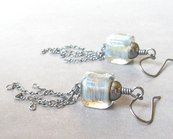 Reserved for Nadine - blue lampwork glass cube and silver chain earrings