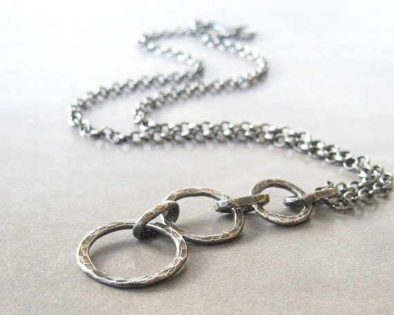 Reserved for Judy - metalwork pendant necklace rustic silver necklace oxidized silver necklace torch fused silver rings organic necklace