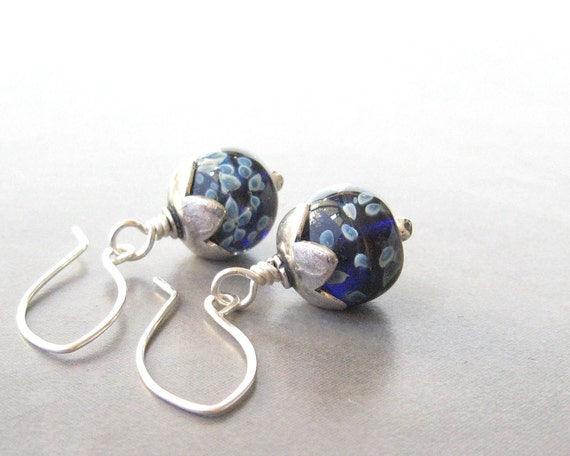 navy blue dangle earrings with lampwork beads and sterling silver