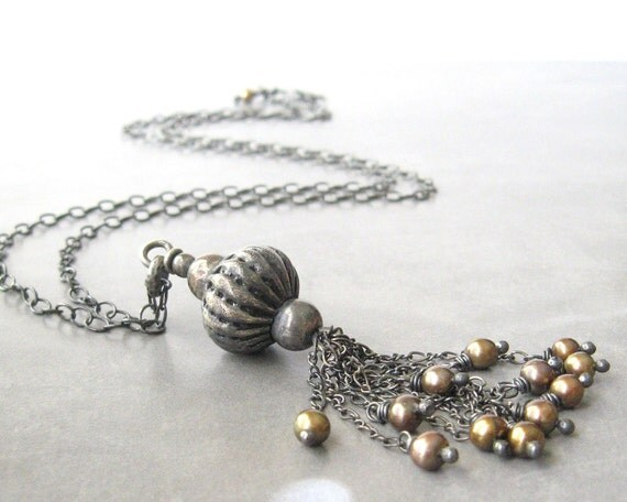 silver pendant necklace with bronze freshwater pearls