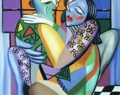 Kiss Me Print Love Couple Giclee Cubism Married Anthony Falbo